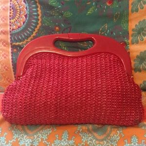 VINTAGE Plastic Handled Straw Purse Lipstick RED!